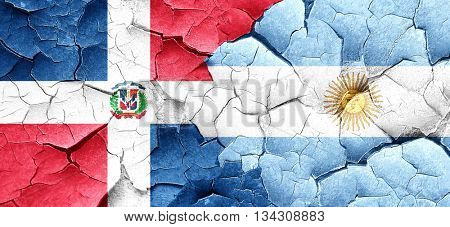 dominican republic flag with Argentine flag on a grunge cracked