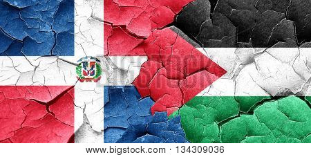 dominican republic flag with Palestine flag on a grunge cracked