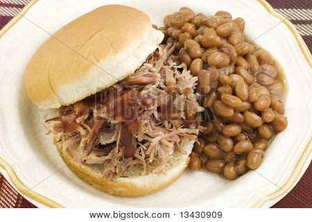 Barbecue Sandwich With Baked Beans