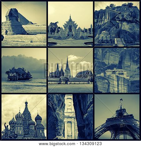 Vintage styled collage made of various travel photos with famous landmarks and destinations such as Great Sphinx, Meteora, Eiffel Tower, Saint Basil Cathedral, Temple of Emerald Buddha, Petra, etc