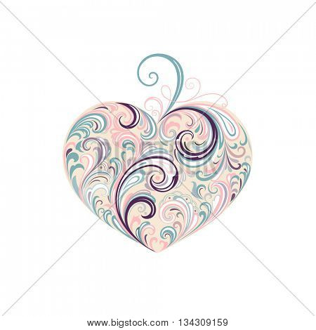 Abstract floral heart.  Element for design.
