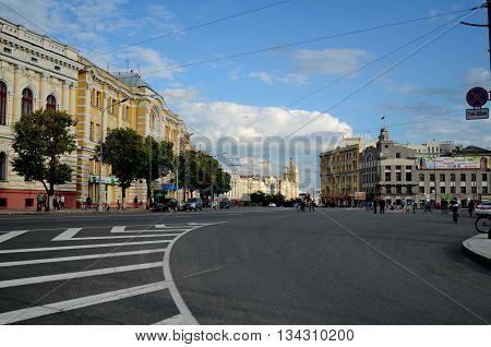 KHARKIV UKRAINE - JUNE 28 2014: Consitution square in the center of Kharkiv city on a summer day