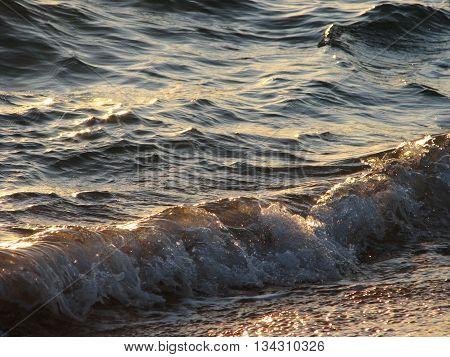 Sea Waves On Sunset