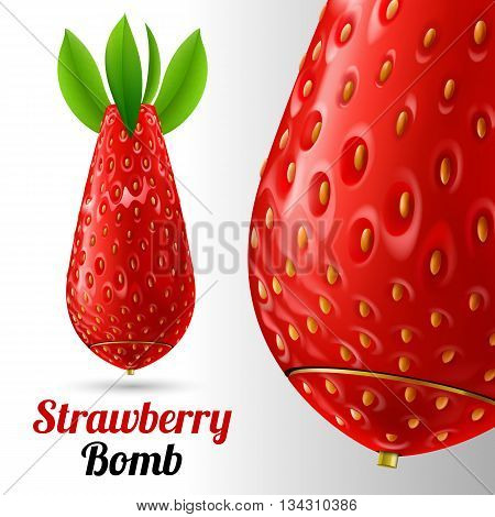 Bomb covered strawberries texture on a light background