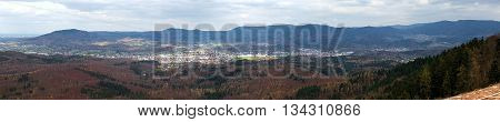 Panoramic View Of Gaggenau In Baden-wurttemberg, Germany, Seen From Castle Ruin Ebersteinburg