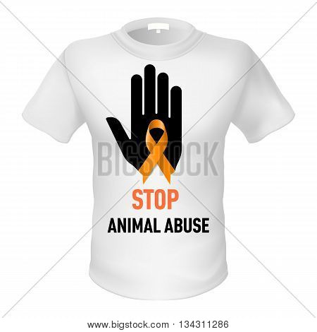 White t-shirt with sign animal abuse. Black hand with orange ribbon