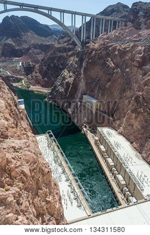 Hoover Dam Also Known As Boulder Dam, In The Black Canyon Of The Colorado River, On The Border Betwe