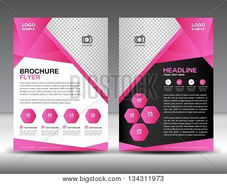 Set of pink brochure flyer design layout template in A4 size