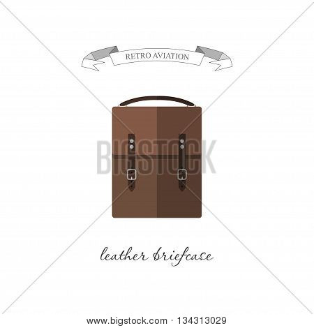 Leather case for documents. Retro aviation. Vector illustration