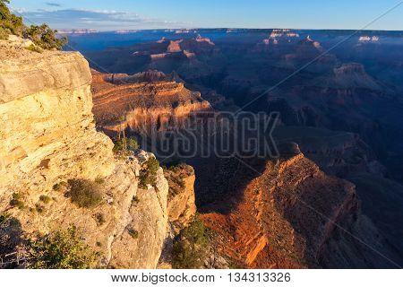 Sunrise At Pima Point Of Grand Canyon, South Rim, Arizona,  Usa