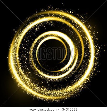 Abstract gold glittering wavy gas fractals of star dust, Gold glitter particles background effect. Sparkling texture. Star dust sparks in explosion on black background. Vector Illustration