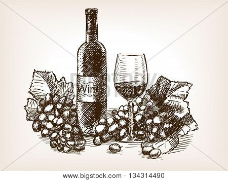 Wine still life sketch style vector illustration. Old engraving imitation.
