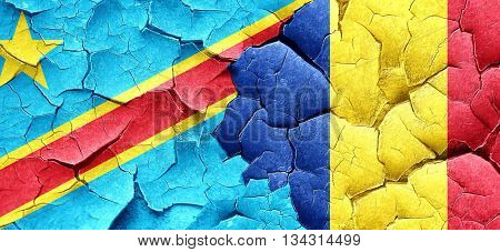 Democratic republic of the congo flag with Romania flag on a gru