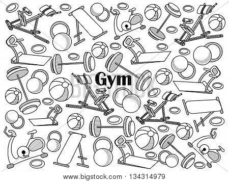 Gym design colorless set vector illustration. Coloring book. Black and white line art