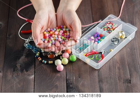 Beautiful Hands With Colored Beads