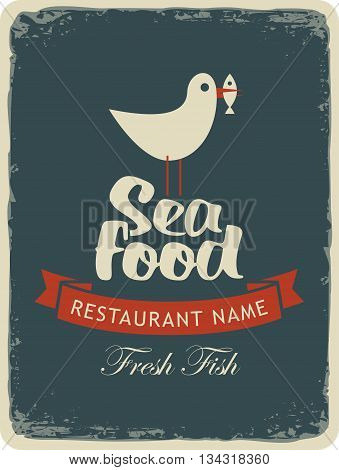 Retro banner for a seafood restaurant menu with a seagull with a fish in its beak