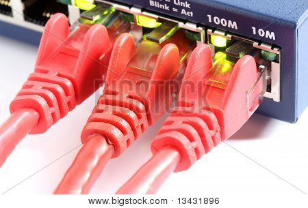 Network Switch Router With Three Red Cables