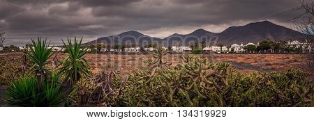Panoramic view of the landscape of Fuerteventura as seen from Playa Blanca, Canary Islands, Spain