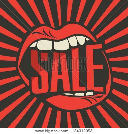 inscription sale in the human mouth in retro style