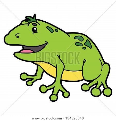 Cute cartoon animal character. Vector illustration of cute cartoon frog character for children and scrap book