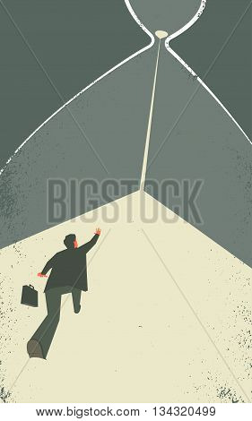 Businessman inside the hourglass. Man is trying to stop the time. Time management concept illustration. EPS10 file. Transparency used.