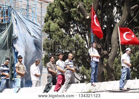 ISTANBUL, TURKEY -JUNE 07: Unidentified activists participate in a protest organized by Humanitarian Relief Foundation to commemorate Mavi Marmara raid on June 07,2010 in Istanbul,Turkey