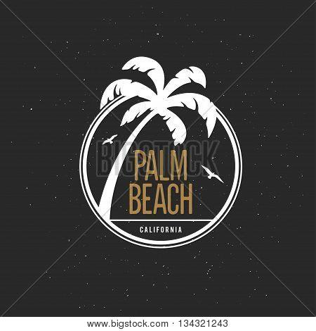 California beach t-shirt vector graphics. California related apparel design. Vintage style illustration.