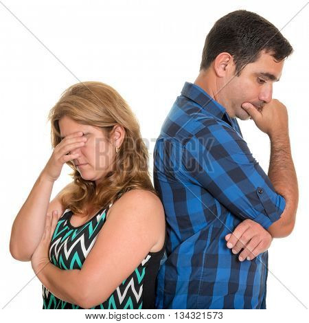 Divorce, Conflicts in marriage - Sad and angry hispanic couple - Isolated on white