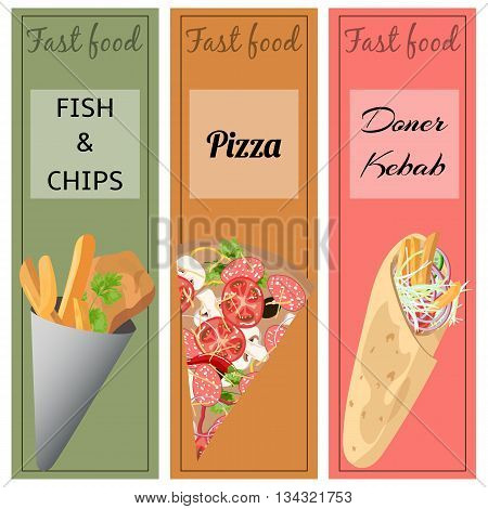 Set of fast food. Doner kebab, pizza, fish and chips