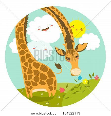 Cute giraffe smelling a flower. Vector illustration