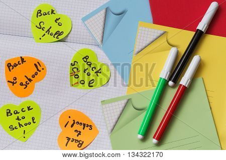 Back to school . School start time . Stickers with a reminder and supplies for schoolchildren.