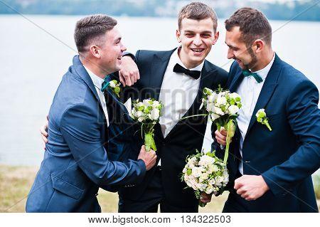 Three Friends, Groom With Groomsman Having Fun