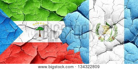 Equatorial guinea flag with Guatemala flag on a grunge cracked w