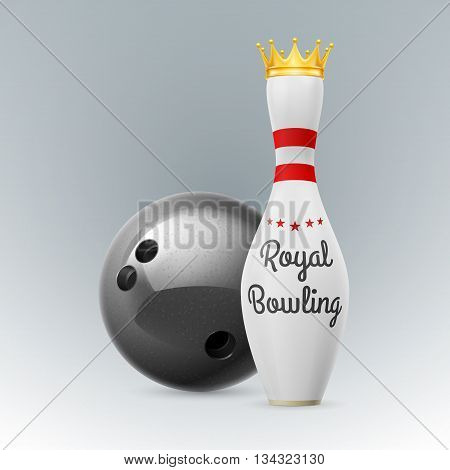 Golden Crown at white skittles isolated on a white background. Bowling ball