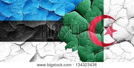 estonia flag with Algeria flag on a grunge cracked wall