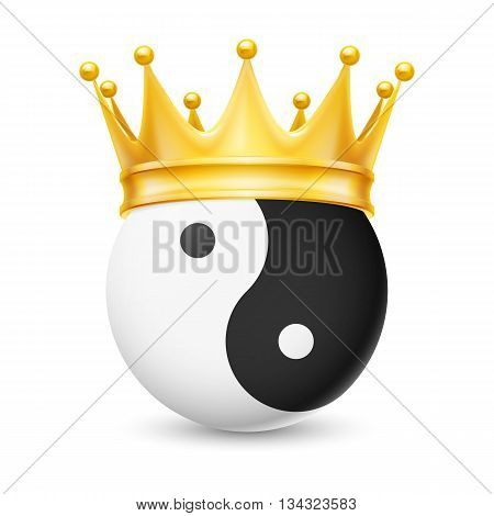 Golden crown on the yin-yang isolated on white