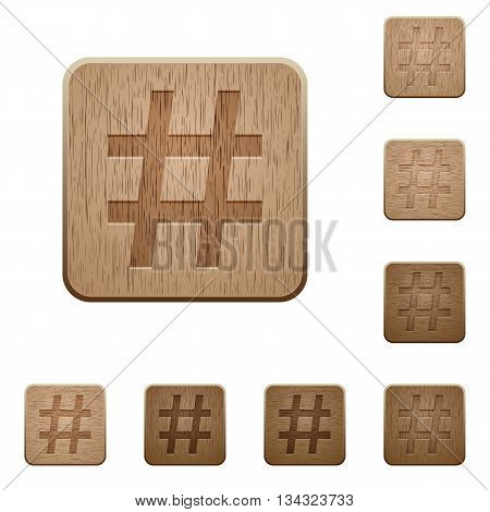 Set of carved wooden hashtag buttons in 8 variations.