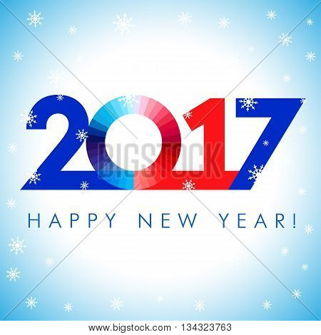 2017 happy new year red blue card. Happy holidays card with snow flakes and vector color figures 2017. 2017 creative design for your greetings card, flyers, banner, party and event