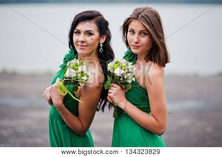 Two Charmed Girls Bridesmaids On Green Dress