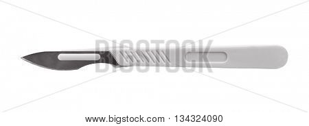 Medical scalpel on white background
