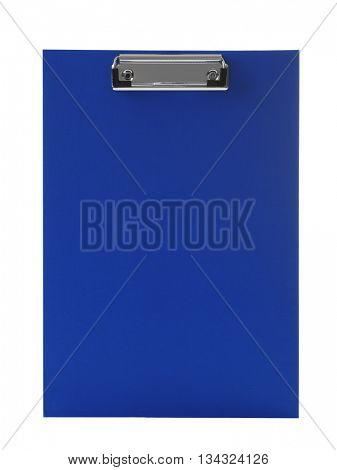 Blank blue clipboard  on white background
