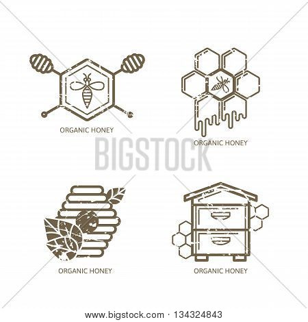 Set Of Vector Honey Label, Logo, Tag, Sticker Design Elements. Bee, Hive, Honeycombs And Honey Dippe