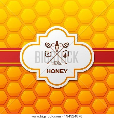 Vector Honey Label, Logo, Tag, Design Elements And Background. Honeycombs Pattern With Red Ribbon An