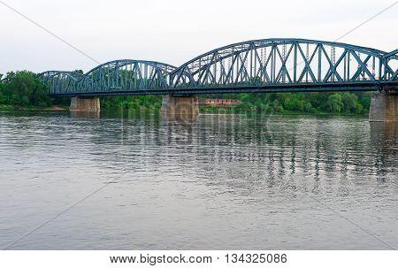 Poland Torun famous truss bridge over Vistula river