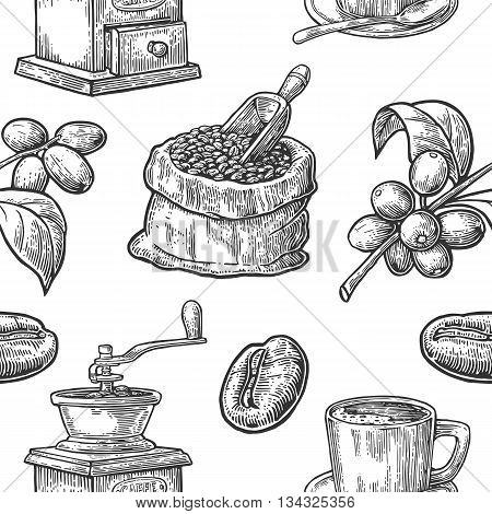 Seamless pattern with coffee bean and branch. Black and white color. Vintage vector hand drawn engraving illustration. Isolated on white background.