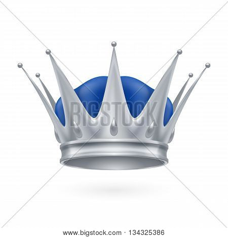 Royal silver crown isolated on a white background