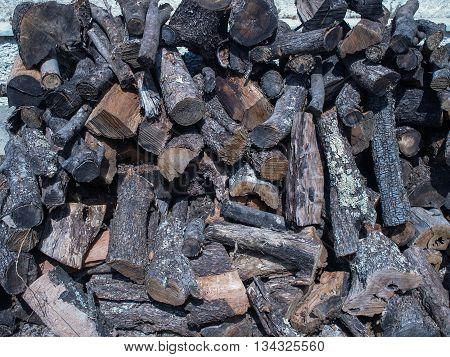 Wood pile of woodburner fuel that has been seasoned