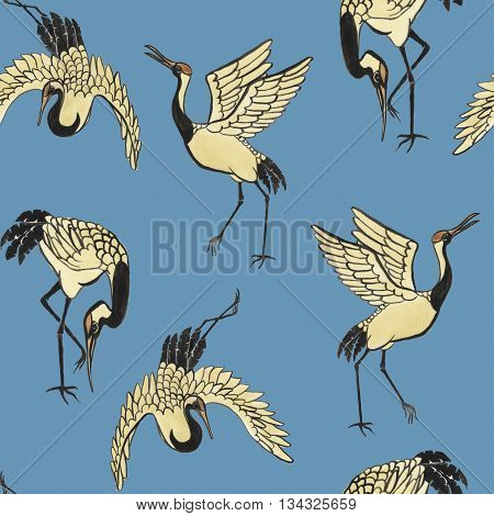 Seamless pattern with cranes hand-drawn with watercolor in eastern style