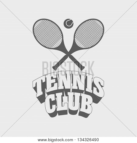 Tennis Club Vintage Badge, Symbol Or Logo Design Template With Two Tennis Rackets And Ball