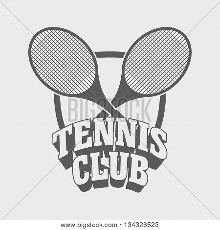 Tennis Club Logo, Sign Or Label Design Template With Two Tennis Rackets On Shield